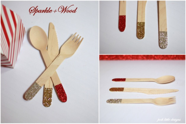 Holiday glittered cutlery