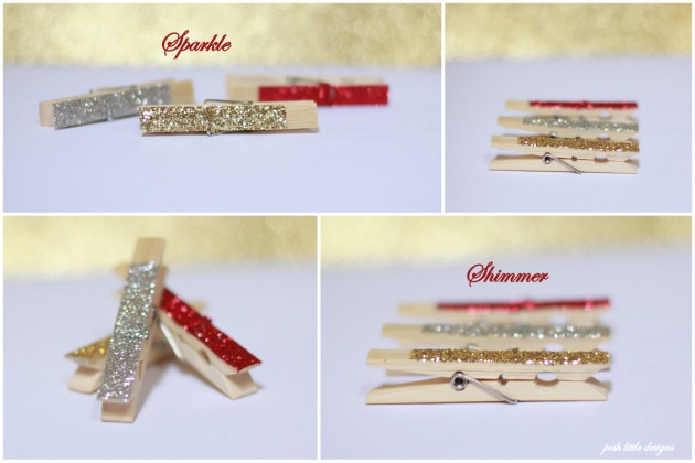 Glitter Clothespins - Holiday