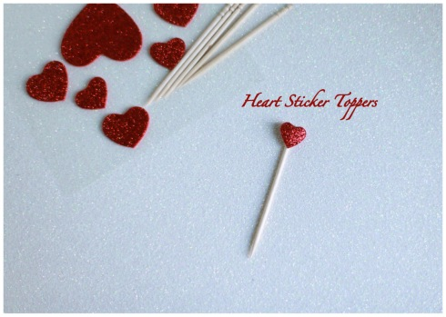 DIY heart sticker toppers