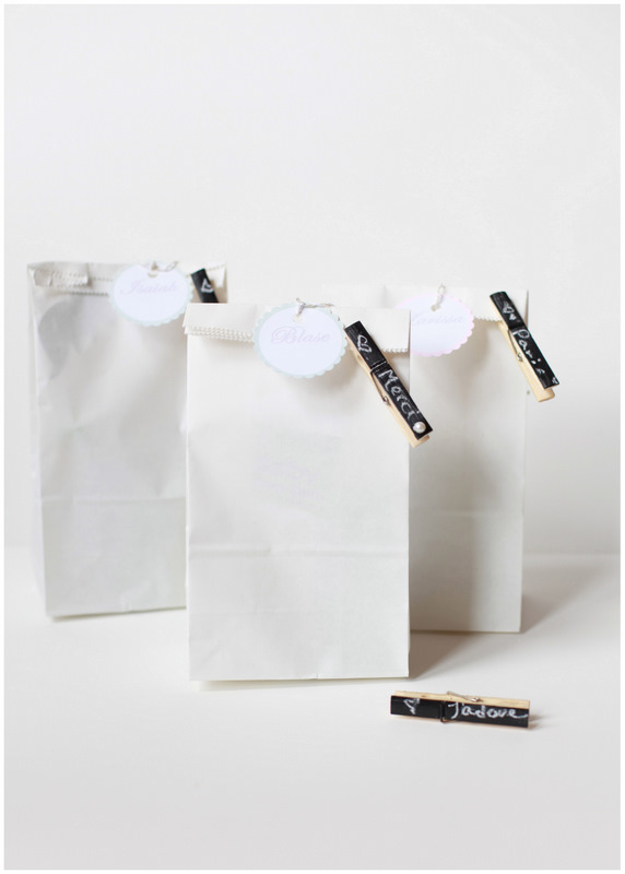 Chalkboard clothespins - favor bags