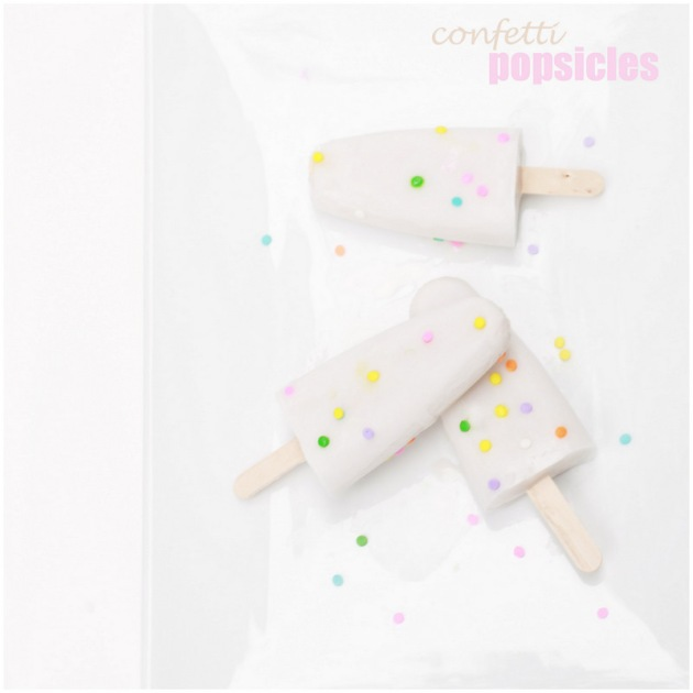 Confetti, popsicles, homeamade, vegan