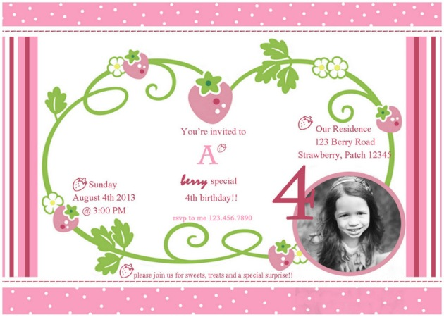 Strawberry Shortcake inspired invites by PLD