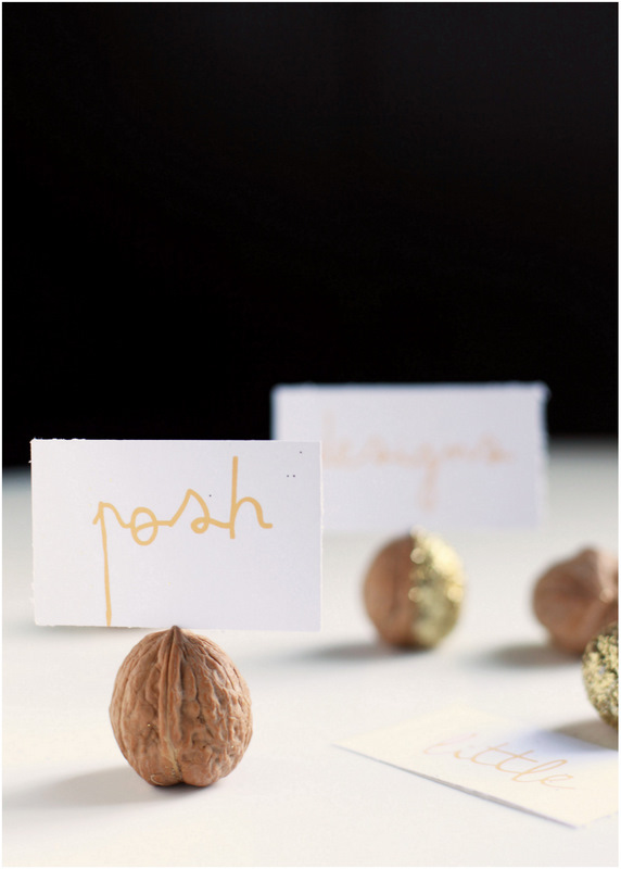 Glittered Walnut Place Card Holders