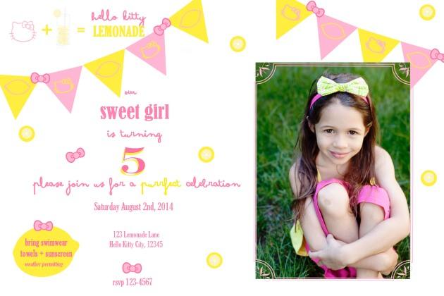 Hello Kitty Lemonade Invitation | Posh Little Designs