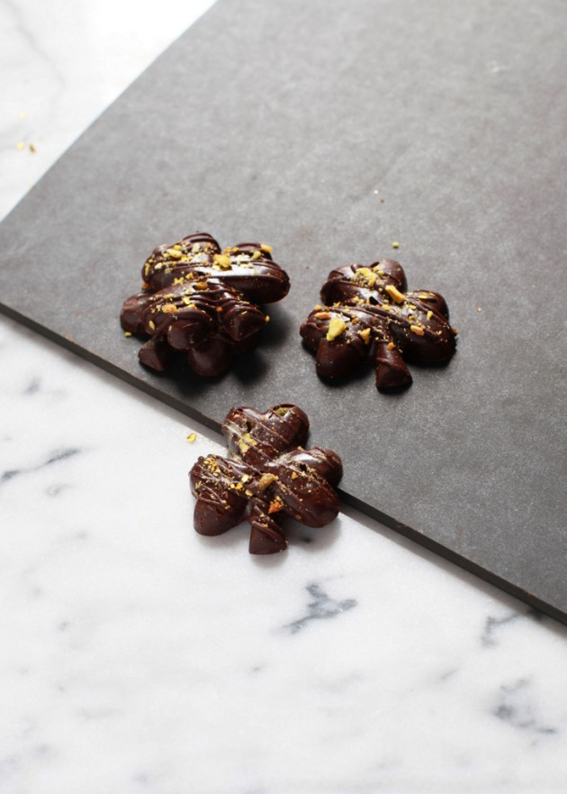 Sea Salt & Pisatchio Dark Chocolate Shamrocks | Posh Little Designs